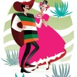 Stock Vector: Mexican couple