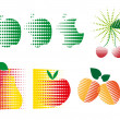 Graphic images of fruit - Stock Vector