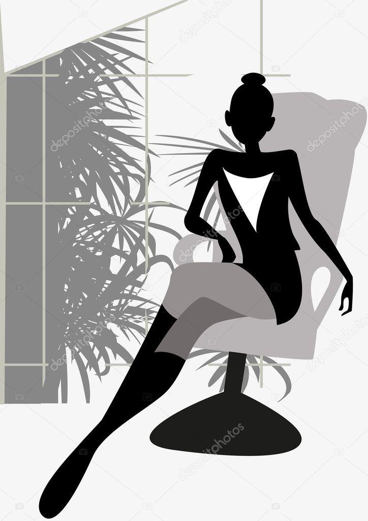 Фото между ног девушки на кресле