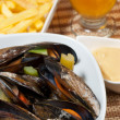 Belgian style mussels — Stock Photo