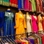 Saris on street market — Stock Photo