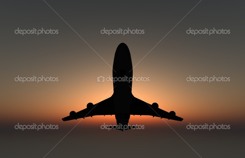 Silhouette of an Airplane flying over head at sunset.  — Stock Photo #5239003