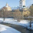volksbad en de rivier in de winter — Stockfoto