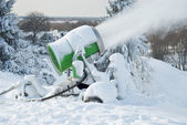 Snow Cannon In Action — Stock Photo