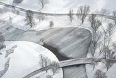 аэрофотоснимок замерзшее озеро — Стоковое фото