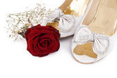 Wedding shoes and roses — Stock Photo