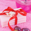 Soap with roses and candle — Stock Photo