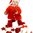Baby dressed as Santa helper — Stock Photo