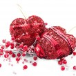 Two red hearts and beads — Foto Stock