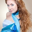 Woman in blue dress - Lizenzfreies Foto