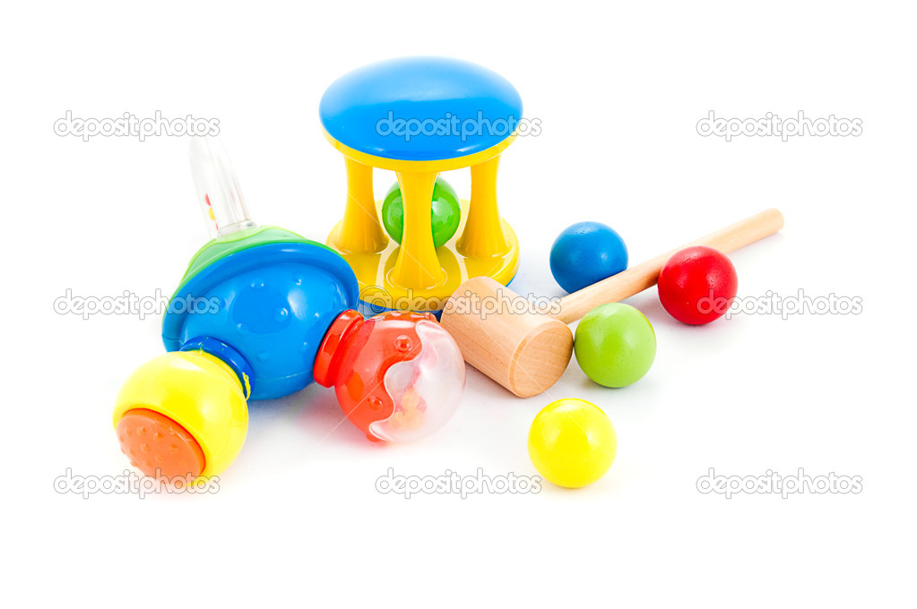Set of baby rattles and toys on white — Stock Photo #5001700