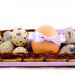 Stock Photo: Quail and chicken eggs
