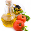 Stock Photo: Olive oil, tomatoes and greens