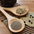 Stock Photo: Pepper, cumin, salt and bay leaf