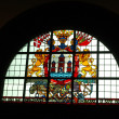 Stained glass window in the town hall in Copenhagen, Denmark — Stock Photo
