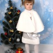 Stock Photo: Beautiful girl in fur cloak around Christmas Tree