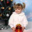 Stock Photo: Beautiful girl in a fur cloak around the Christmas tree with gif