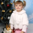 Little girl in a white coat with a rabbit around a Christmas tre — Foto Stock