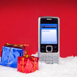 Text message to Santa — Stock Photo