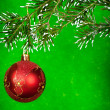 Red xmas ball on fir tree — Stock Photo