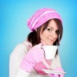 Winter girl with tea — Stock Photo #3934018