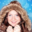 Freezing girl and snowflakes — Stock Photo #3934528