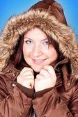 Freezing girl in jacket — Stock Photo