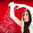 Santa woman and snowflakes — Stock Photo