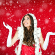 Woman in santa clothes standing in the snow — Stock Photo