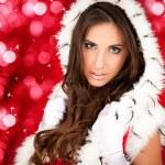 Sexy santa woman on shiny background — Stock Photo #4080290