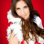Portrait of a beautiful santa woman — Stock Photo