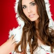 Portrait of a beautiful sexy santa woman — Stock Photo