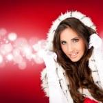 Sexy santa on shiny background — Stock Photo