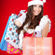 Sexy santa woman holding shopping bags — Stock Photo #4080687
