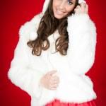 Attractive winter woman in costume posing — Stock Photo