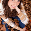 Beautiful autumn woman – view from above — Stock Photo