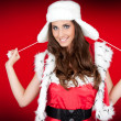Cute santa woman on red bg — Stock Photo #4132048