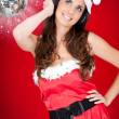Party santa girl and shiny disco ball — Stock Photo