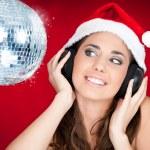 Christmas girl with disco ball — Stock Photo