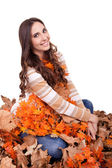 Beautiful autumn woman covered with leaves — Stock Photo