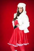 Sexy santa woman with white hat — Stock Photo