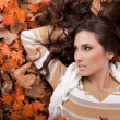 Young sexy woman on autumn leaves — Stock Photo
