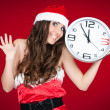 Exited santa woman with clock - new year — Stock fotografie