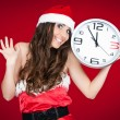 Exited santa woman with clock - new year — Stockfoto