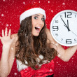 Almost new year - santa girl,clock , snow concept — Stock Photo #4267394