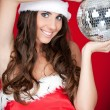 Santa girl, party, disco ball — Stock Photo