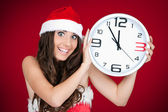 Hurry , new year, santa girl — Stock Photo