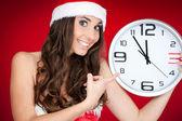 Nowy rok, santa dziewczyna, zegar czasu — Zdjęcie stockowe