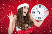 Almost new year - santa girl,clock , snow concept — Stock Photo
