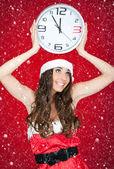 Midnight, santa girl, snowing — Stock Photo